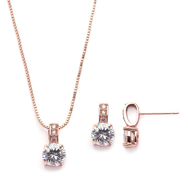 Delicate CZ Round-Cut Necklace and Earrings Set with Pave Top