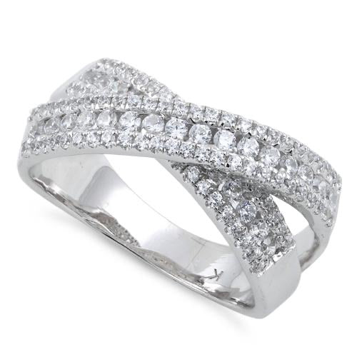 Sterling Silver Elegant Overlapping Clear CZ Ring