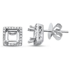 0.24cts Semi Mounting Diamond 14k White Gold Earrings