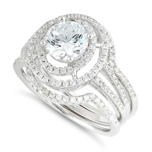 Sterling Silver Double Halo Round CZ Set Ring