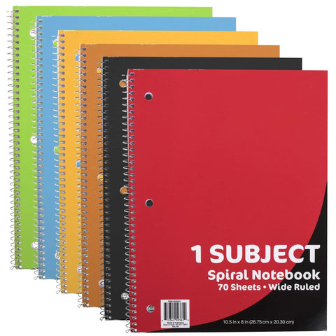 1 Subject Notebook - Wide Ruled - 70 Sheets