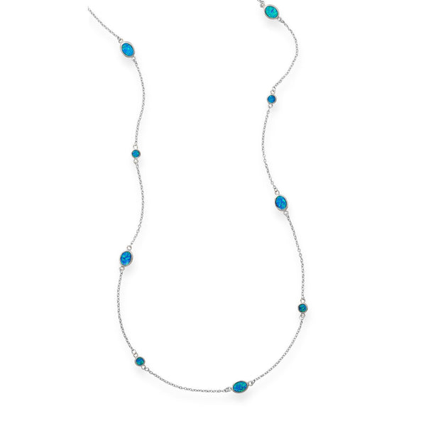 "46"" Multishape Synthetic Blue Opal Necklace"