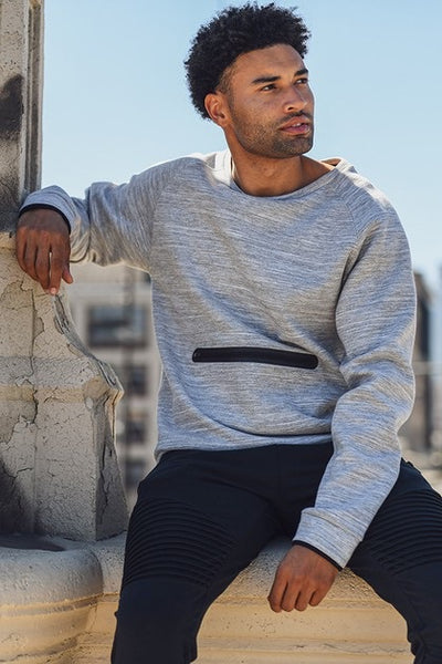 Men's Crew-Neck Pullover with Zippered Pocket
