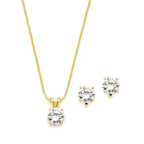 CZ Pendant Necklace and Clip-On Earrings Set
