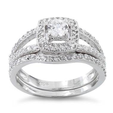 Sterling Silver CZ Wedding Set Ring