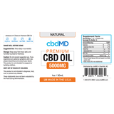 5000mg CBD Oil Tincture Drops Natural Flavor NO THC