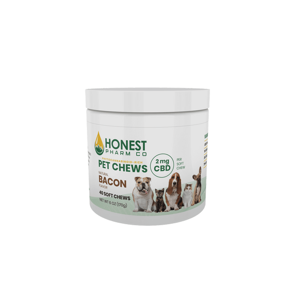 CBD Pet Chews 40 soft chews (2mg) Bacon Flavor