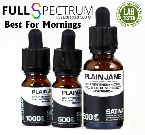 CBD Oil Drops Plain Jane Full Spectrum Sativa Available in 500mg 1000mg 1500mg