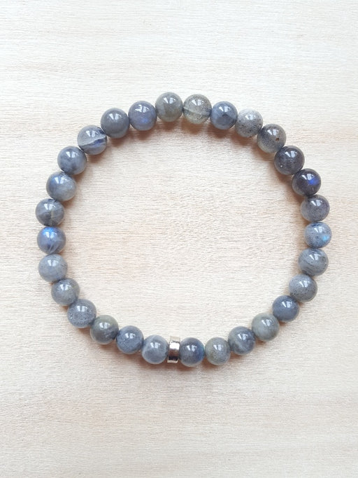 Bracelet de pierres véritables de Labradorite - 6 mm - Protection - Gris irisé