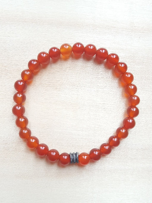 Bracelet de pierres véritables de Cornaline - 6 mm - Chakra Sacré - Rouge orange