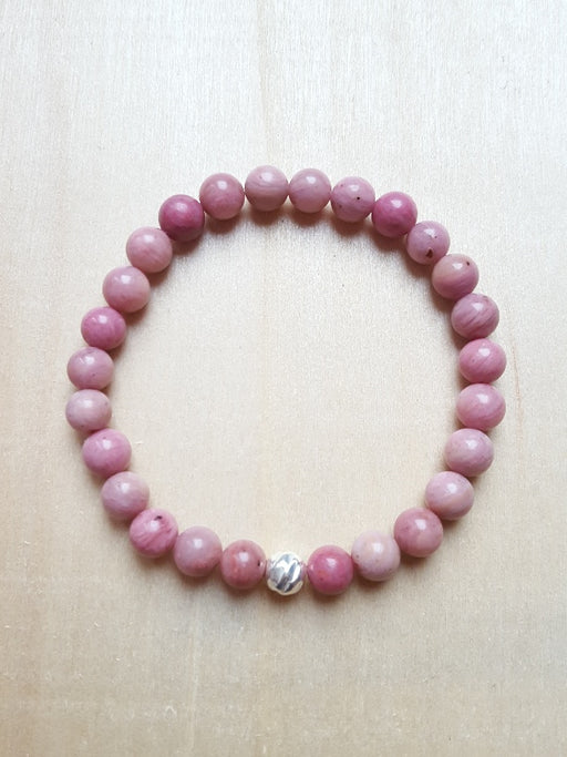Bracelet de pierres véritables de Rhodonite - 6 mm - Chakra Cœur  -  nuances de rose