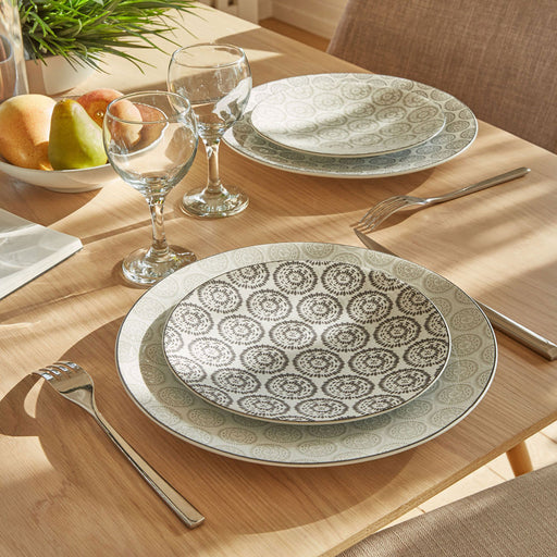 assiette plate chloé - grés - motif rosace gris anthracite - 27 cm - table passion
