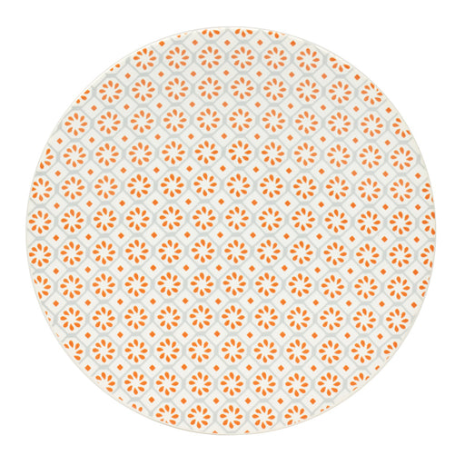 Assiette dessert en grès - motif rosace bohème - 21 cm - gris orange - Table passion