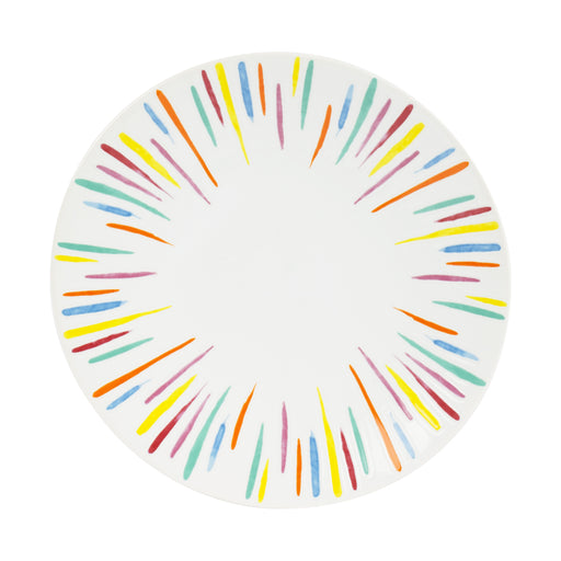 Assiette dessert en grès - motif rayures - 21 cm - multicolore - Table passion