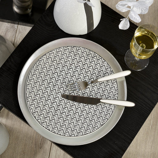 Assiette plate en grès - motif zig zag - 27 cm - gris - Table passion
