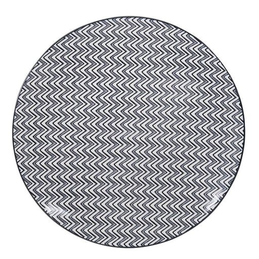 Assiette plate en grès - motif zig zag - Table passion
