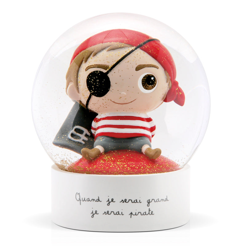 "Boule à neige Pirate ""Quand je serai grand je serai pirate"""