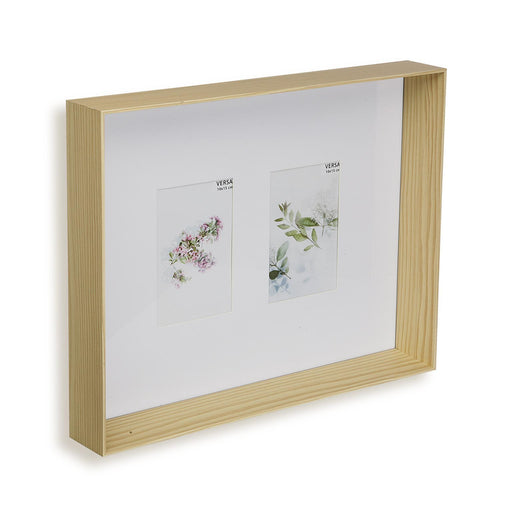 cadre photo multi vues 2 photos à suspendre - mdf - 40 x 32 x 6 cm - naturel clair - VERSA HOME