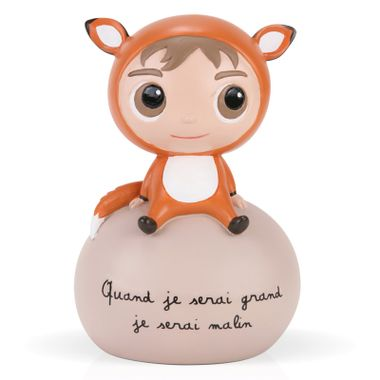 Tirelire enfant quand je serai grand, je serai malin - résine marron - hauteur 14cm  - Label Tour