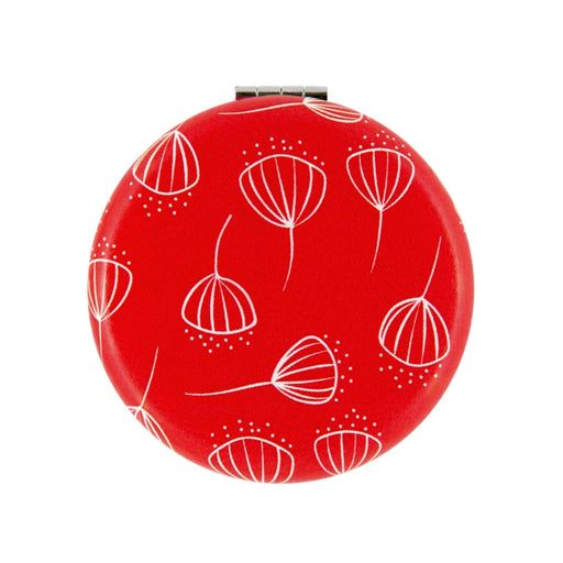 miroir de sac - collection ginko - coque rigide - rouge - DLP
