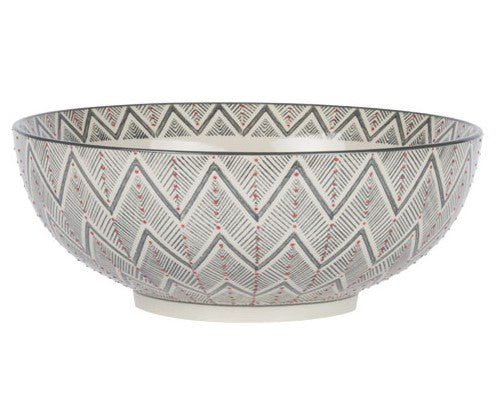 saladier - collection santa fé - grès - diamètre 26 cm - motif chevron gris