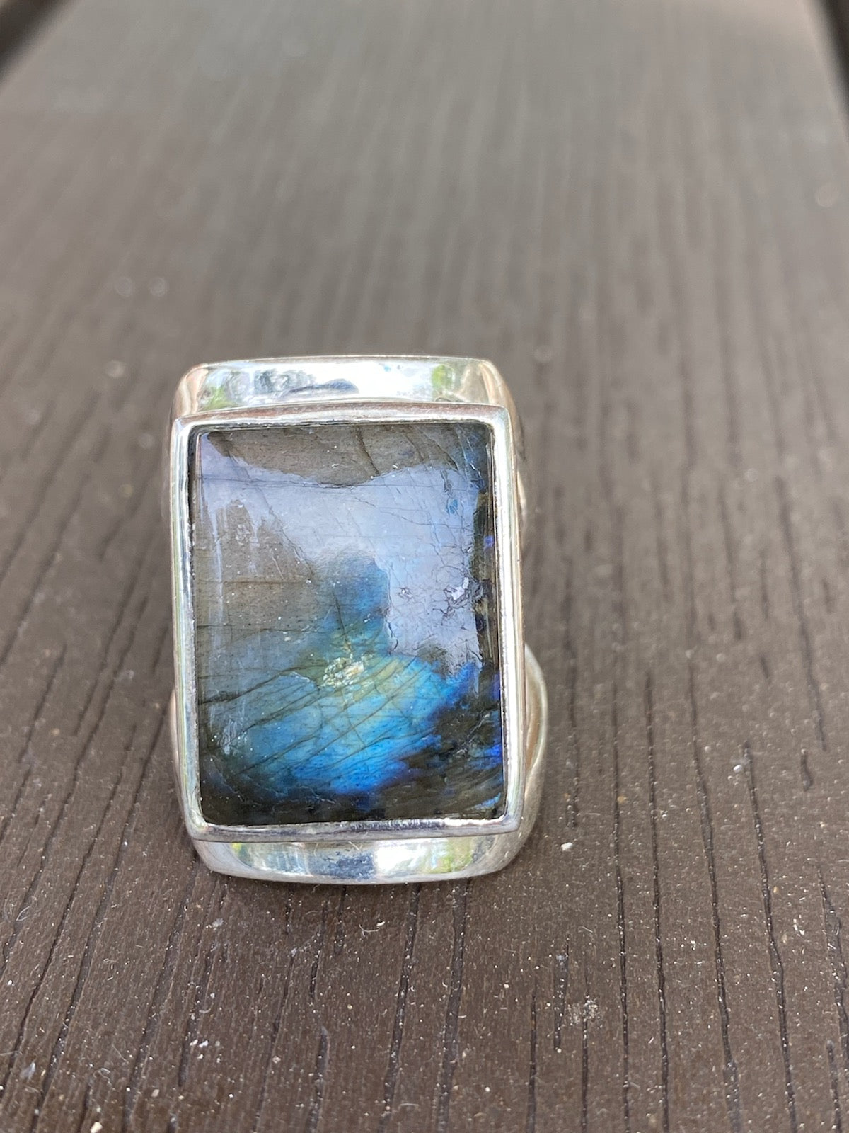 Labradorite Sterling Silver Ring (Square)