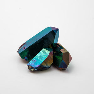 Open image in slideshow, Titanium Rainbow Aura Quartz Points