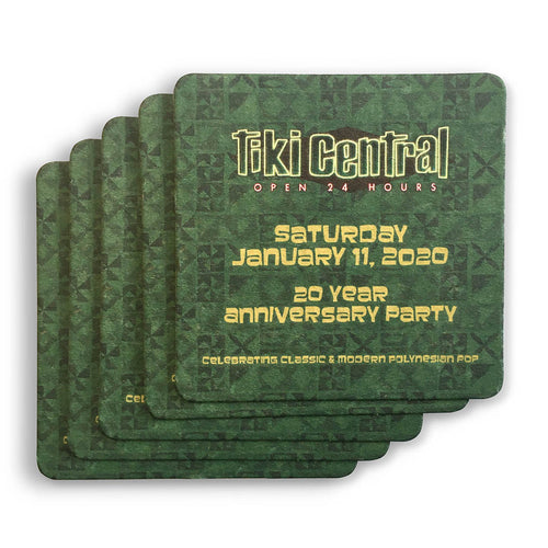 Tiki Central 20th Anniversary Coasters: 5-Pack