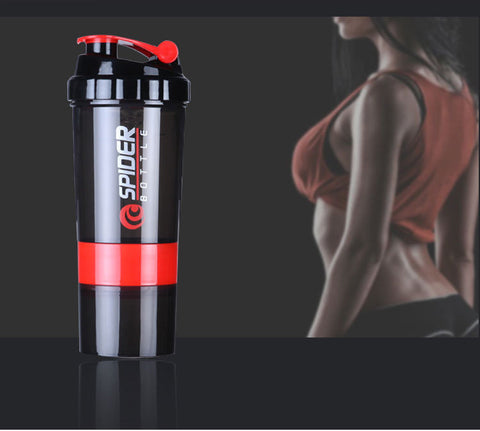 Leak Proof Shaker Bottle with Protein Powder Storage Compartments