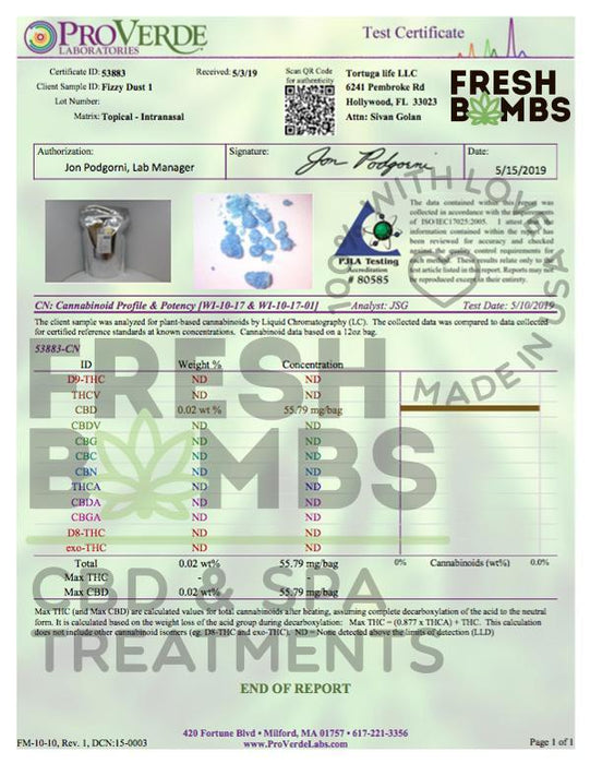 Fresh Bombs Pain Reliever 50mg CBD Fizzy Dust