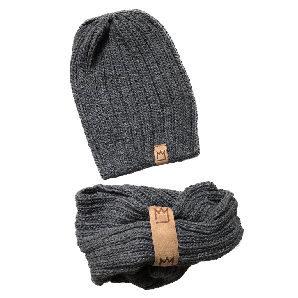 Extra Dark Grey Beanie Set
