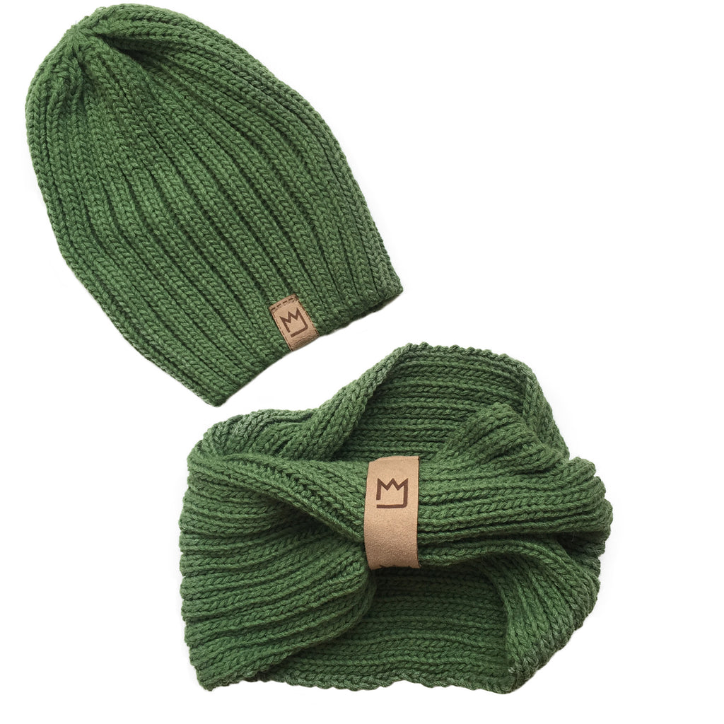 Beanie Set Green as Grass