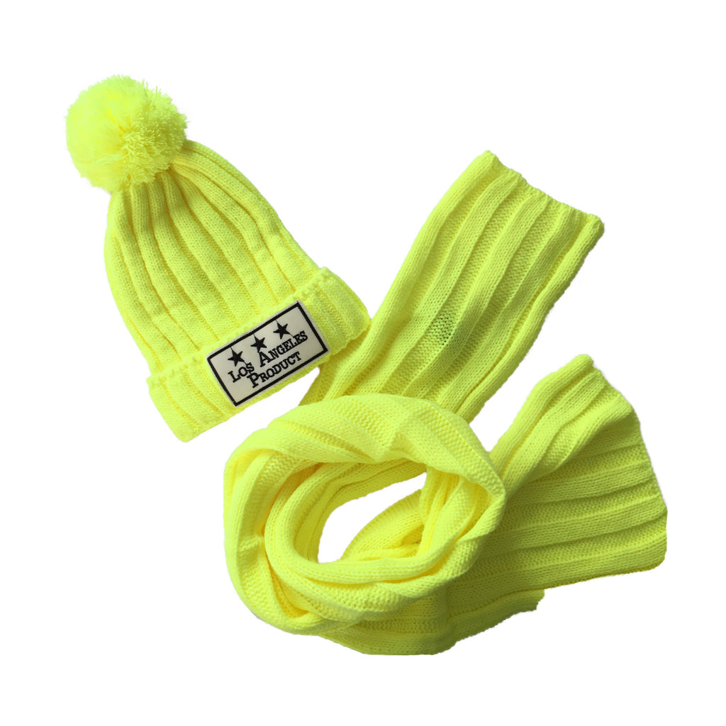 LA Yellow Beanie Set