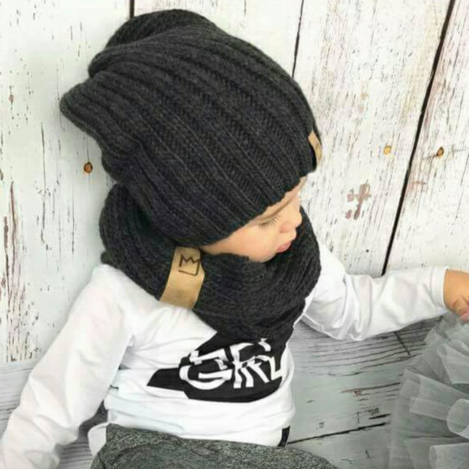 Dark Grey Beanie Set