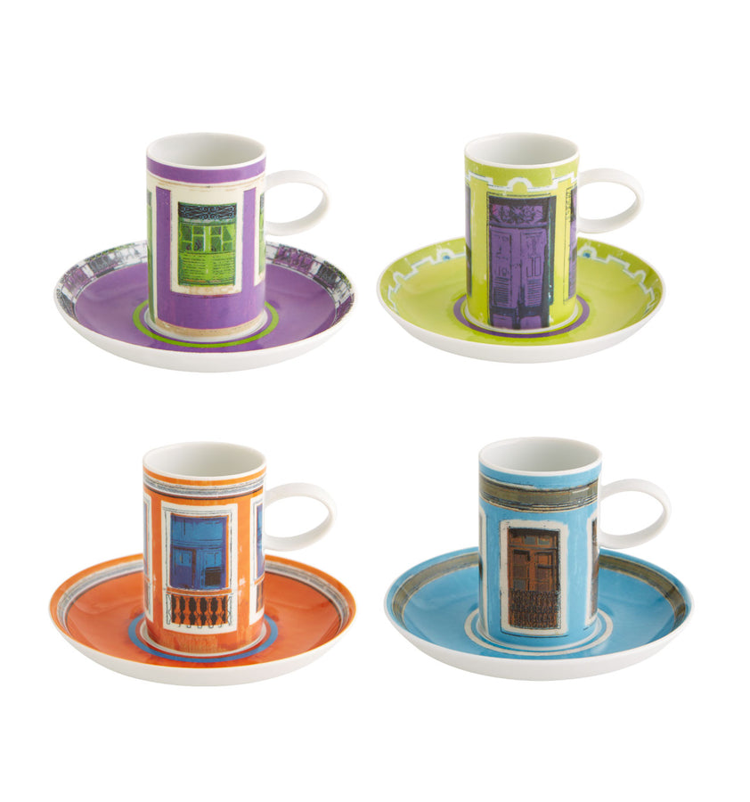 Olhar o Brasil Set 4 Coffee Cups and Saucers Windows
