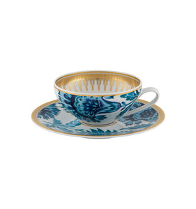 Gold Exotic Tea Cup w/Saucer Set of 4
