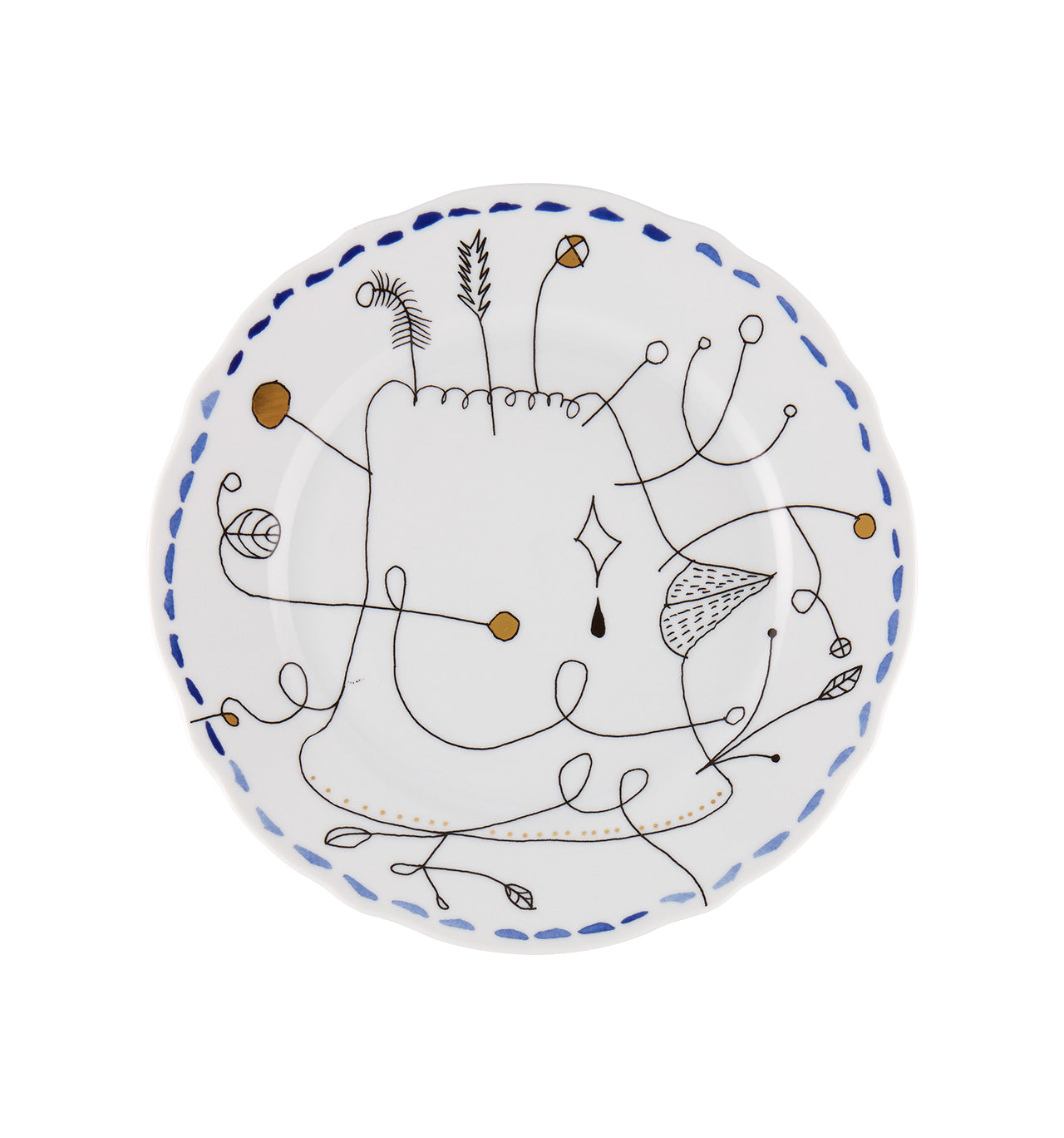 Folkifunki Dessert Plate Blue Set of 4