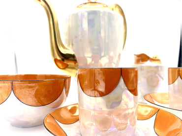 1920'S Pearlescent And Gold Coffee Set