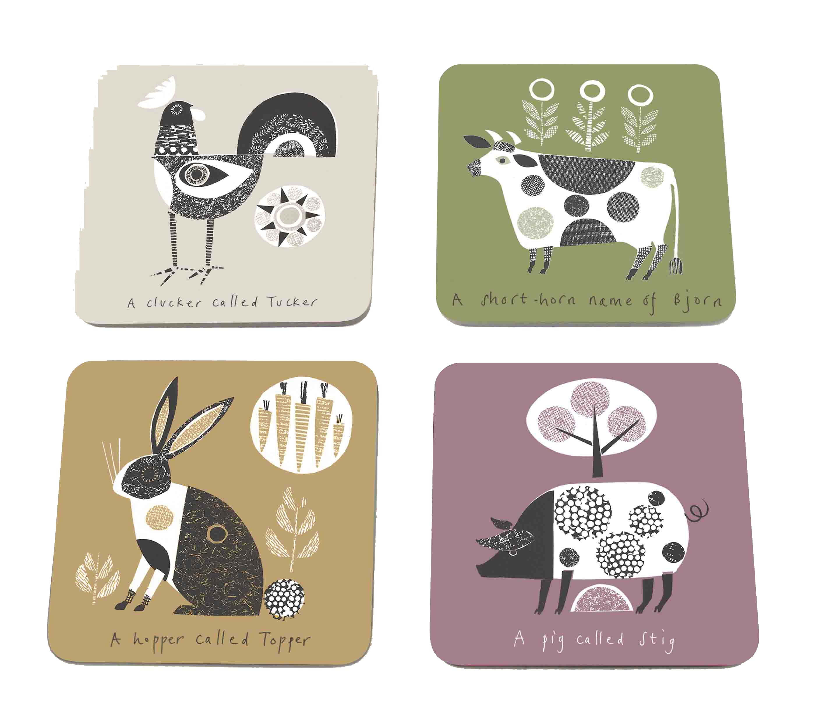 Jane Ormes Animals Coasters Set 4