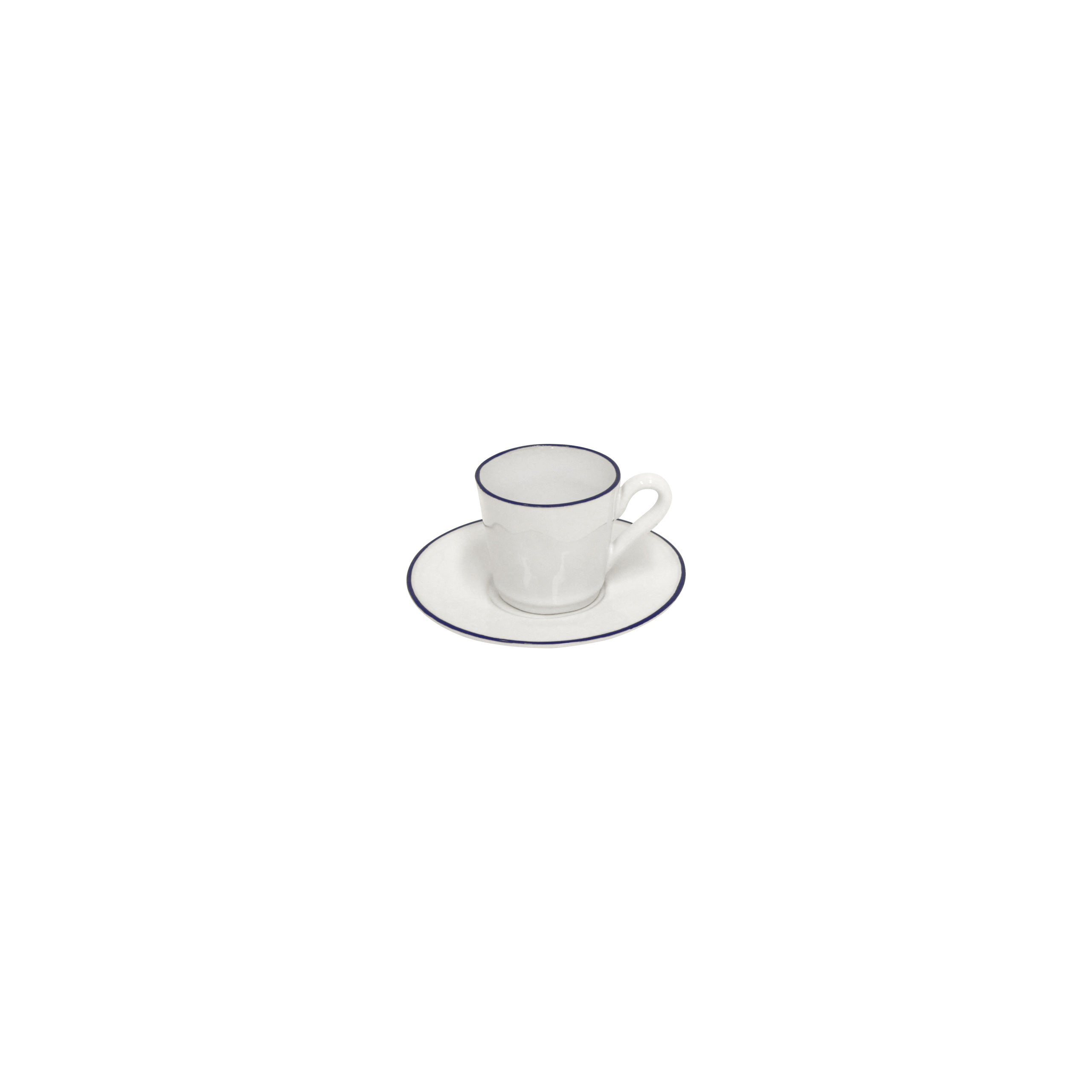 Beja White/blue Coffee Cup & Saucer set of 6