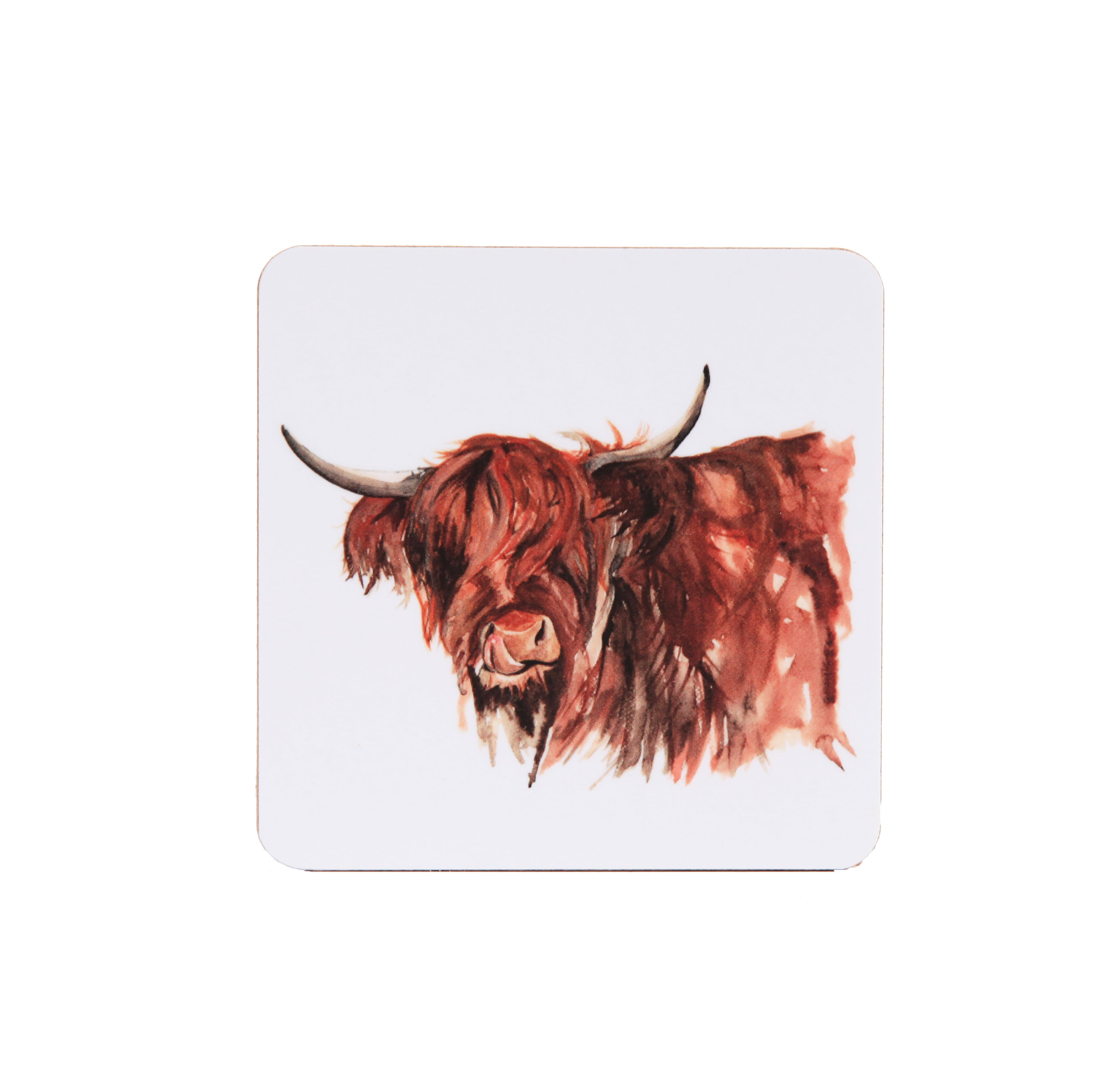 Meg Hawkins Coaster Highland Cow White