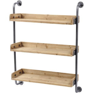 Moresby Fir Wood 3 Shelf Wall Unit