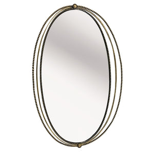 Carrick Oval Gold Iron Mirror With Fine Rope Detail