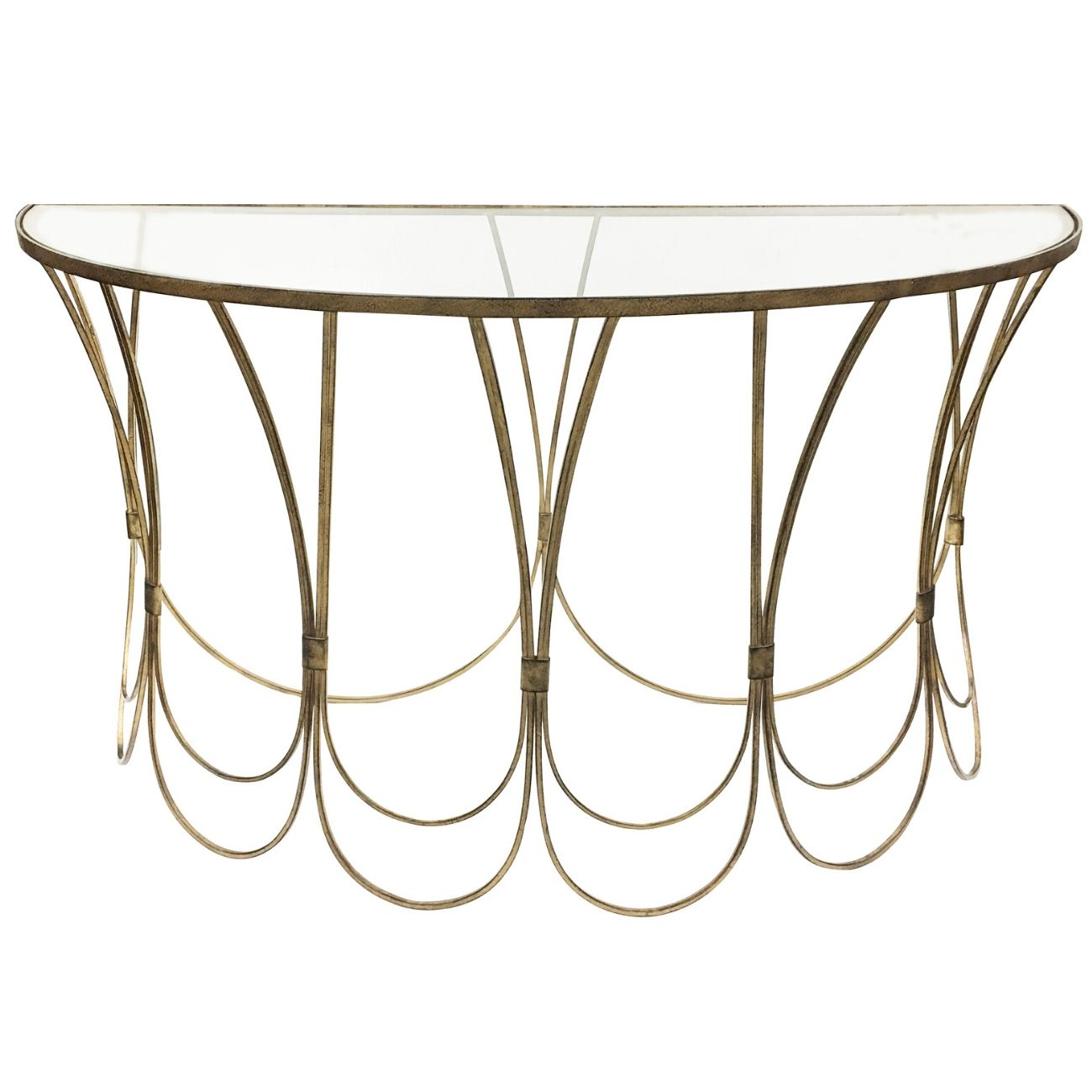 Deco Champagne Iron Console Table With Scallop Detail