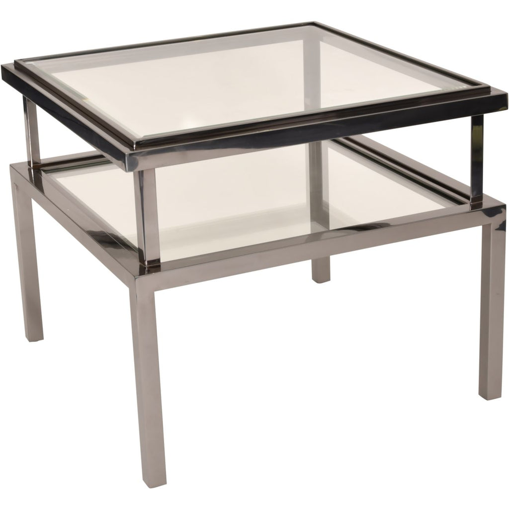 Belgravia Stainless Steel and Glass Square Side Table
