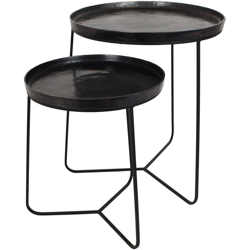 Black Metal Side Tables  Set of 2