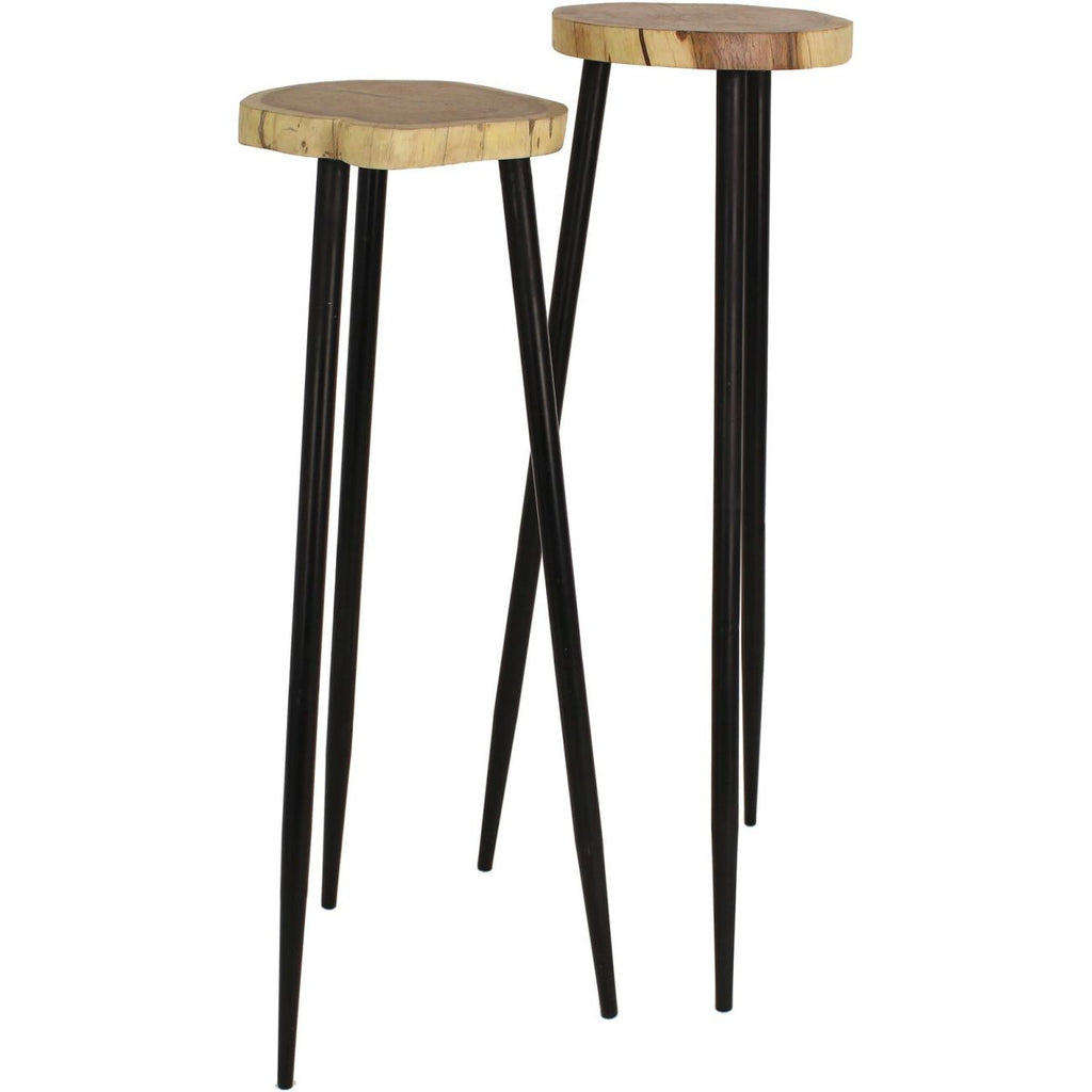 Tall Pillar Acacia Wood Side Tables Set of 2