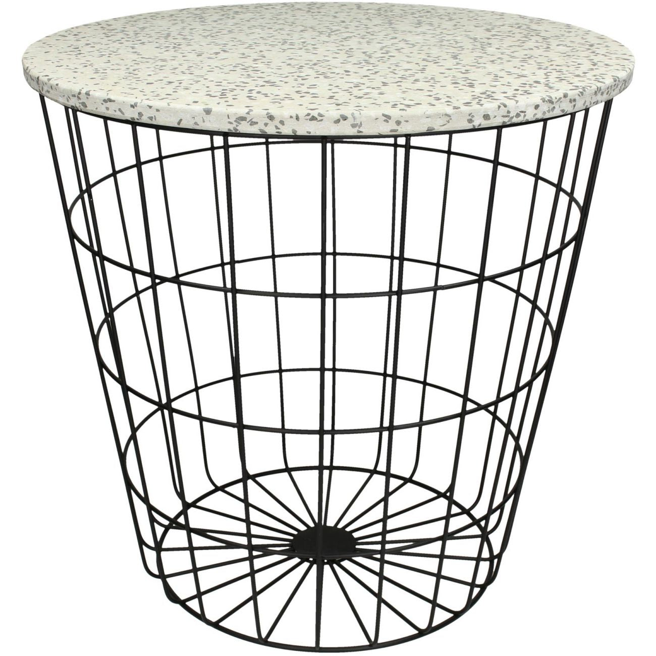 Terazzo Side Table With Black Metal Mesh Base