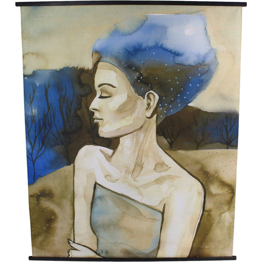 Blue Haired Lady Velvet Hanging Wall