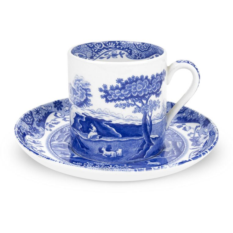 Blue Italian Coffee Cups & Saucers Set of 4